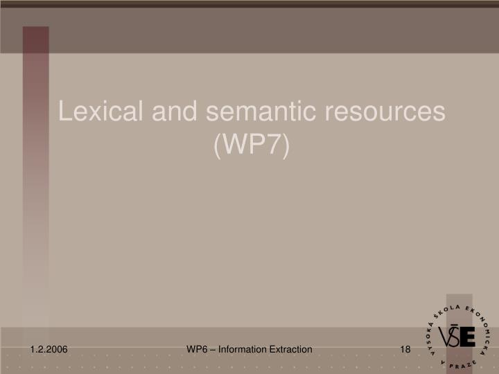 Lexical and semantic resources