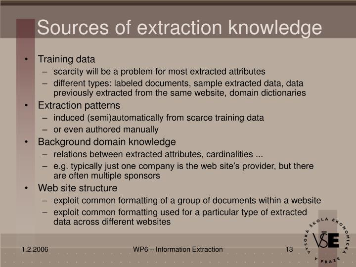 Sources of extraction knowledge
