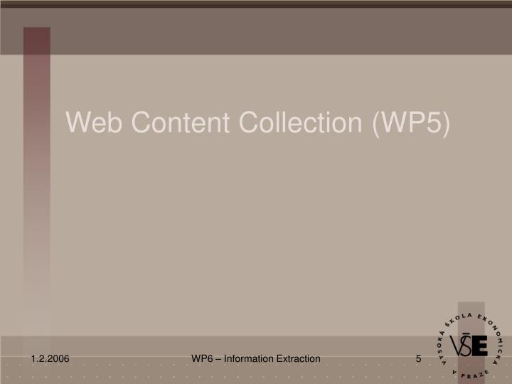 Web Content Collection (WP5)