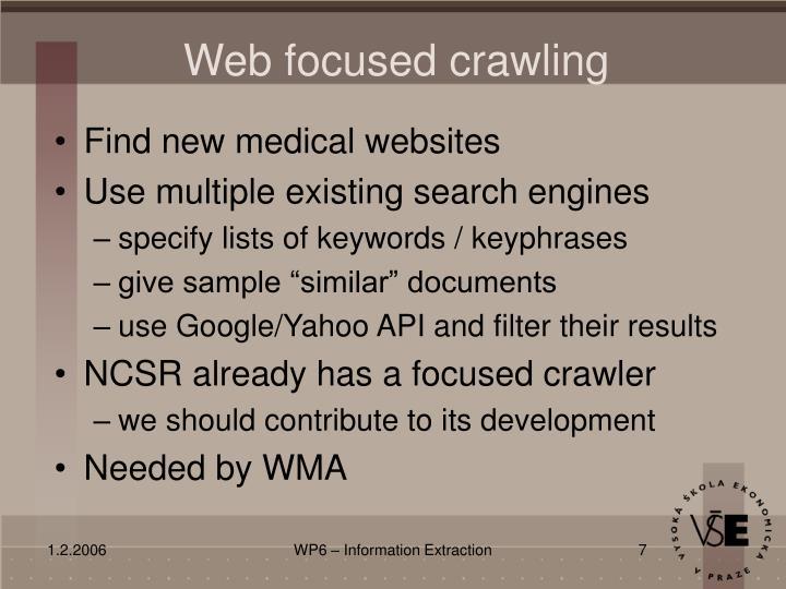 Web focused crawling