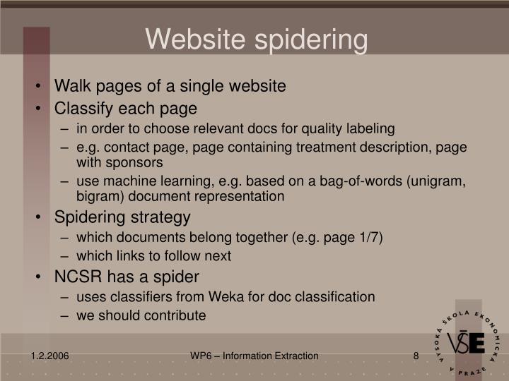 Website spidering