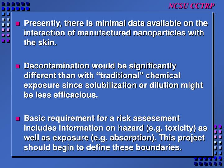 Presently, there is minimal data available on the interaction of manufactured nanoparticles with the skin.