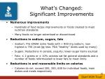 what s changed significant improvements