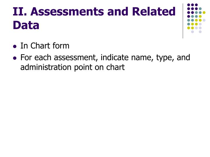 II. Assessments and Related Data