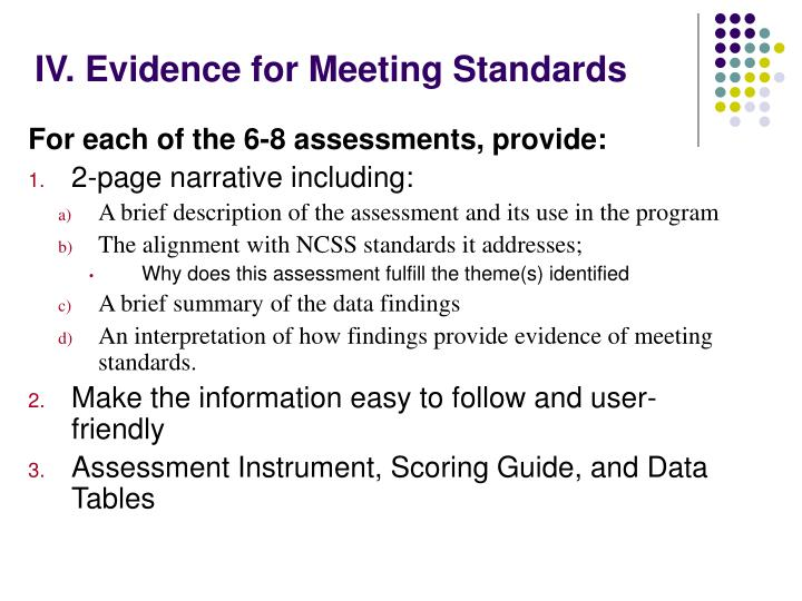 IV. Evidence for Meeting Standards