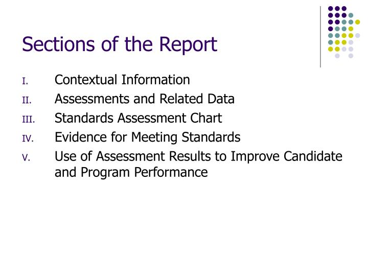 Sections of the Report