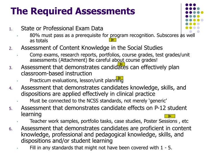The Required Assessments