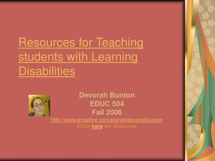 resources for teaching students with learning disabilities n.