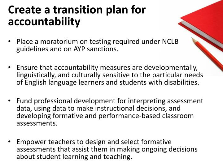 Create a transition plan for accountability