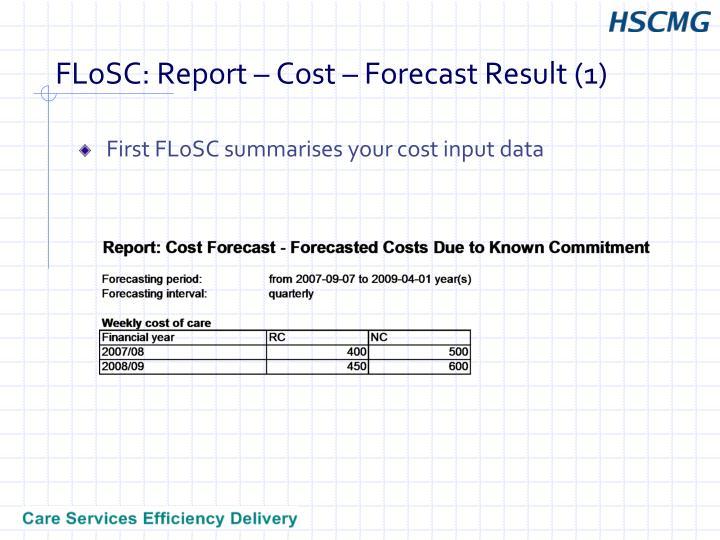 FLoSC: Report – Cost – Forecast Result (1)