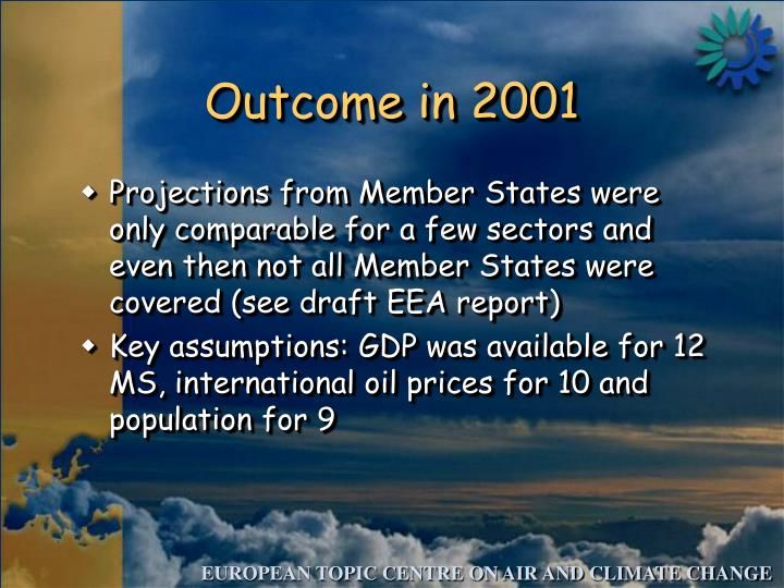 Outcome in 2001