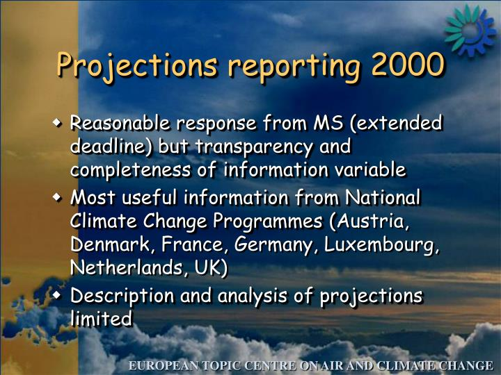 Projections reporting 2000