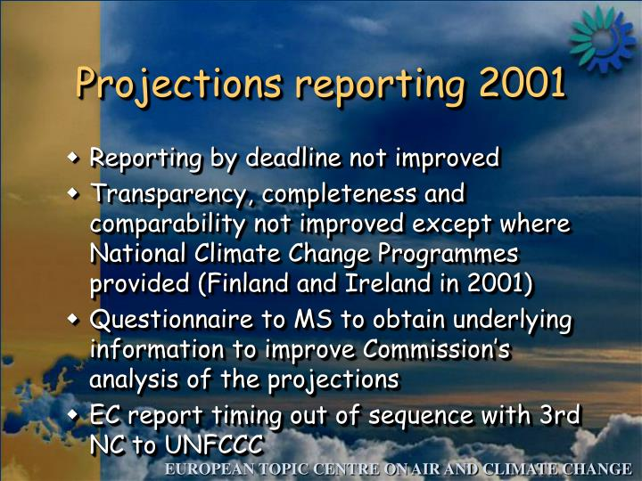 Projections reporting 2001