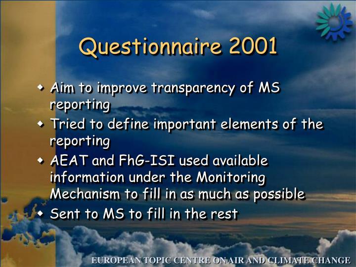 Questionnaire 2001