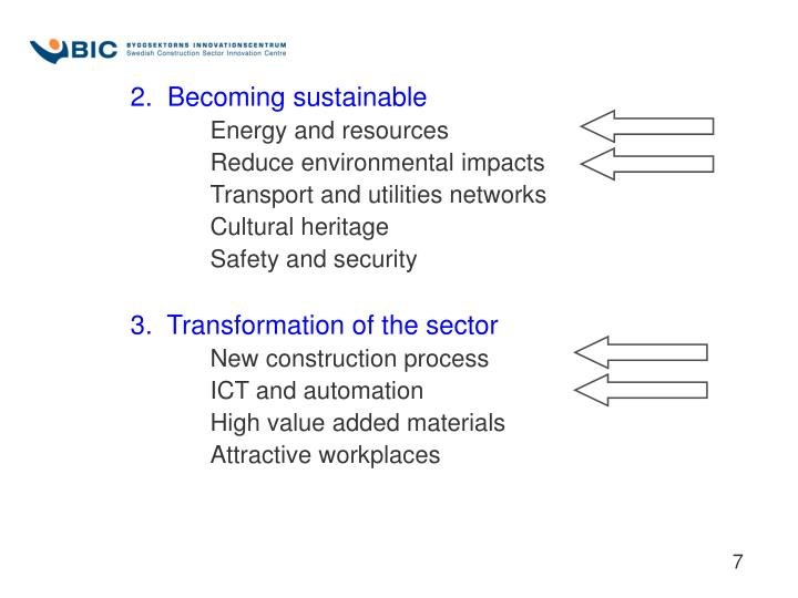 2.  Becoming sustainable