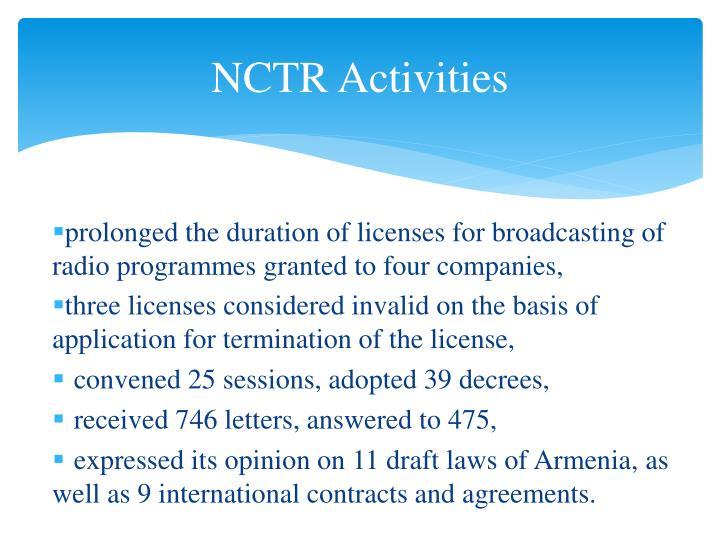 NCTR Activities