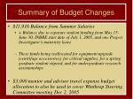 summary of budget changes