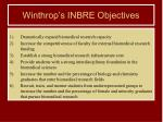 winthrop s inbre objectives