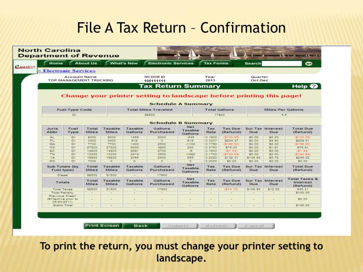 File A Tax Return – Confirmation