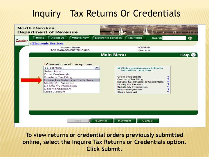 Inquiry – Tax Returns Or Credentials