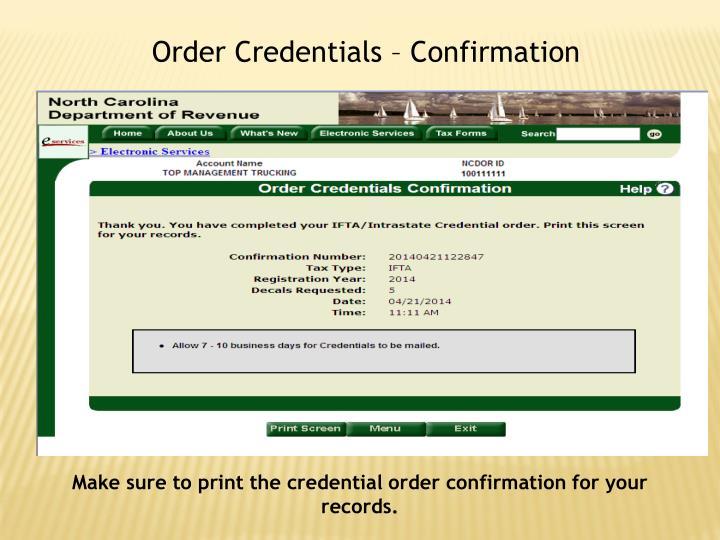 Order Credentials – Confirmation