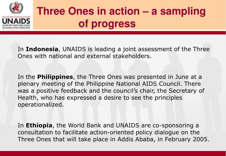 Three Ones in action – a sampling of progress