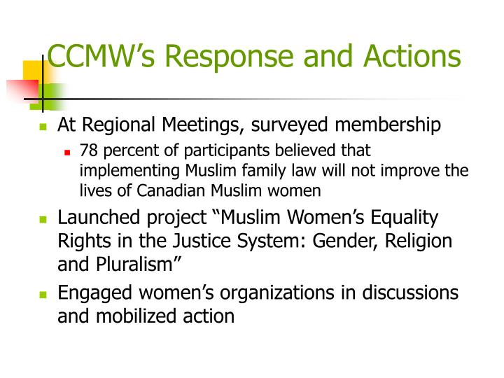 CCMW's Response and Actions