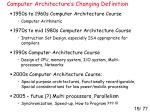 computer architecture s changing definition
