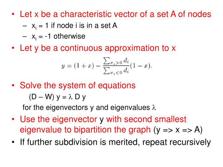 Let x be a characteristic vector of a set A of nodes