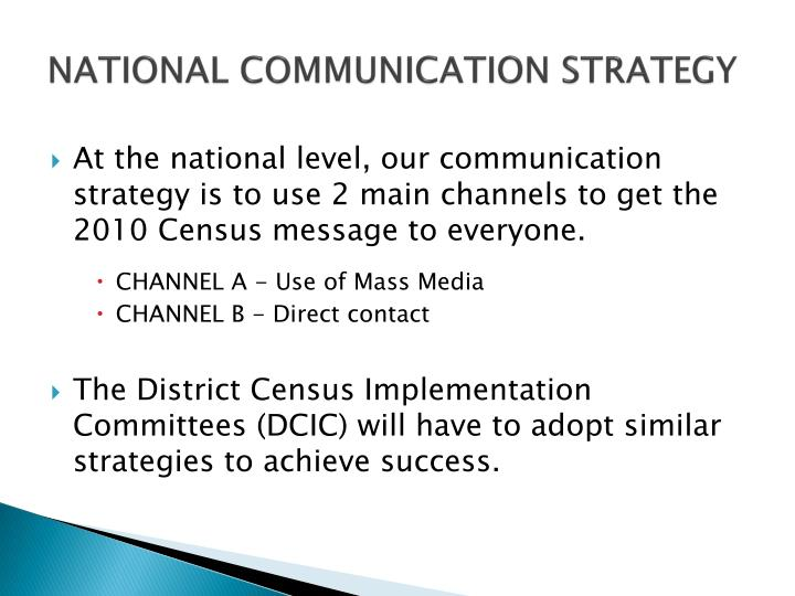 NATIONAL COMMUNICATION STRATEGY