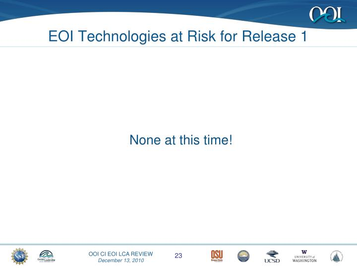 EOI Technologies at Risk for Release 1