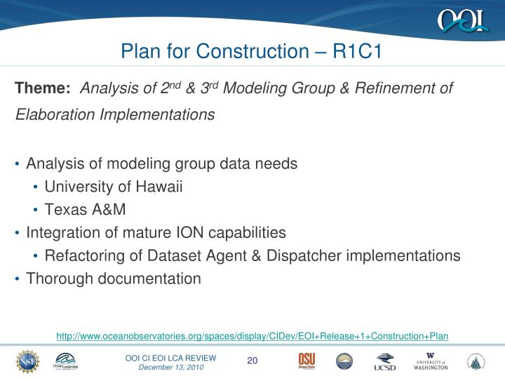 Plan for Construction – R1C1