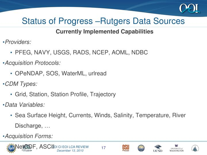 Status of Progress –Rutgers Data Sources