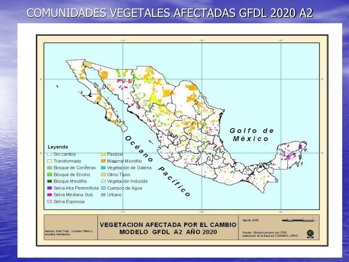 COMUNIDADES VEGETALES AFECTADAS GFDL 2020 A2