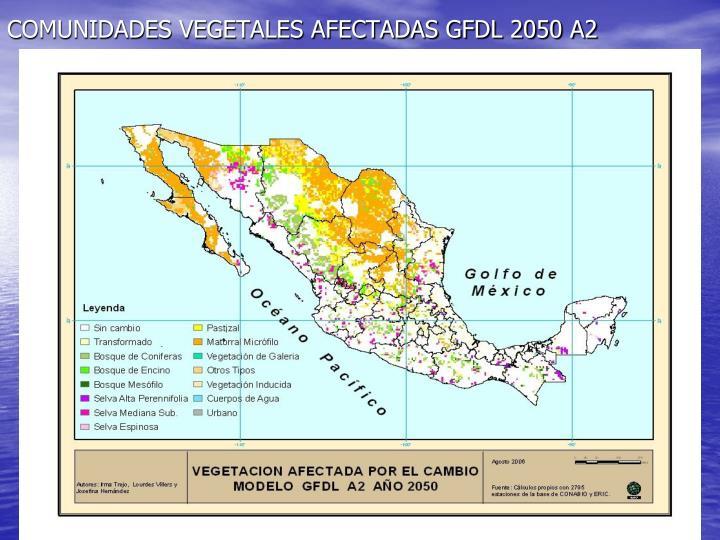 COMUNIDADES VEGETALES AFECTADAS GFDL 2050 A2
