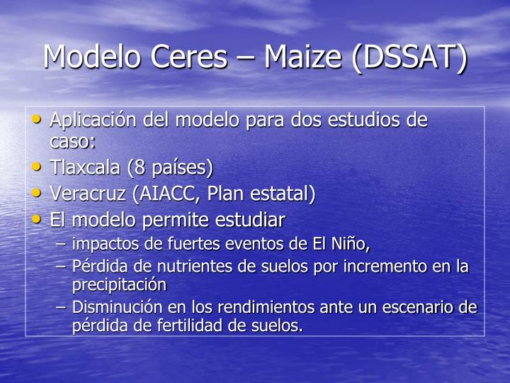 Modelo Ceres – Maize (DSSAT)