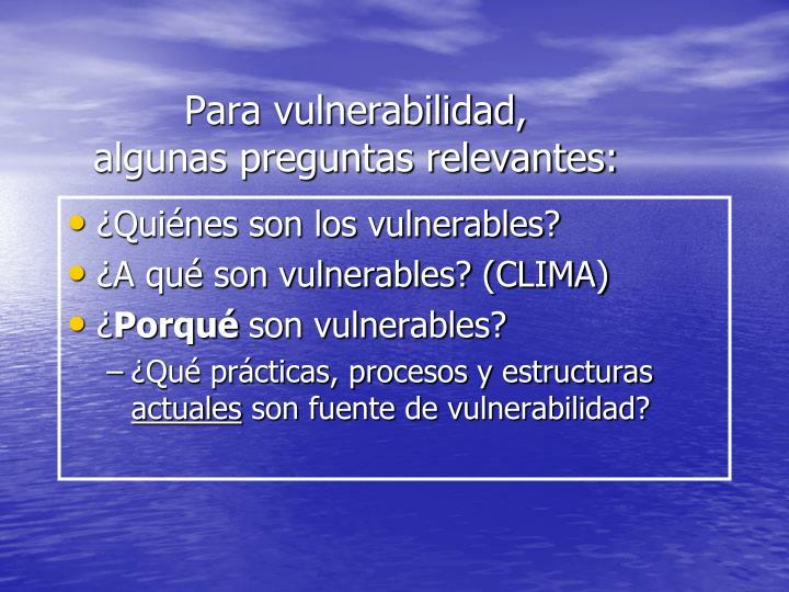 Para vulnerabilidad,