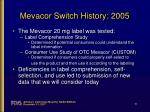 mevacor switch history 20052