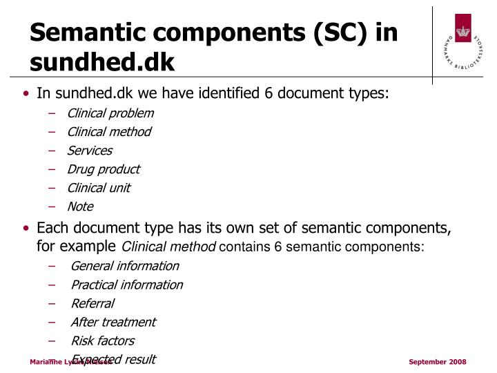 Semantic components (SC) in sundhed.dk