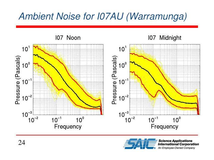 Ambient Noise for I07AU (Warramunga)