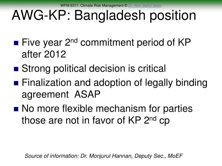 AWG-KP: Bangladesh position
