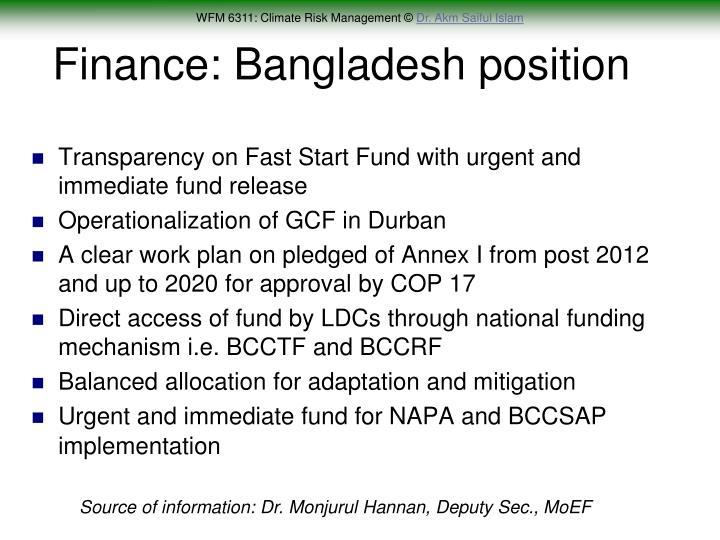 Finance: Bangladesh position