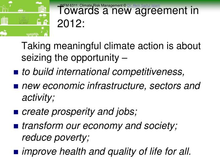 Towards a new agreement in 2012: