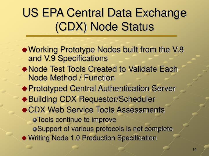 US EPA Central Data Exchange (CDX) Node Status