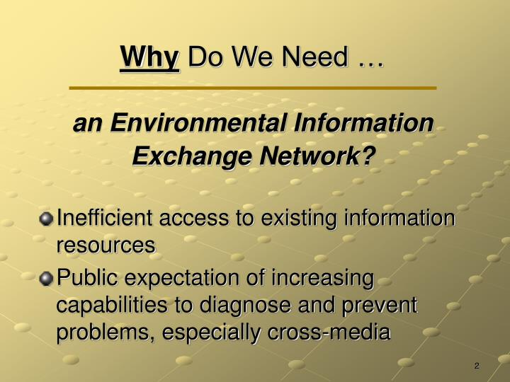 Why do we need an environmental information exchange network