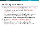 evaluating an ir system