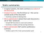static summaries