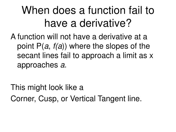When does a function fail to have a derivative