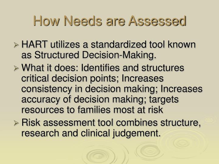 How Needs are Assessed
