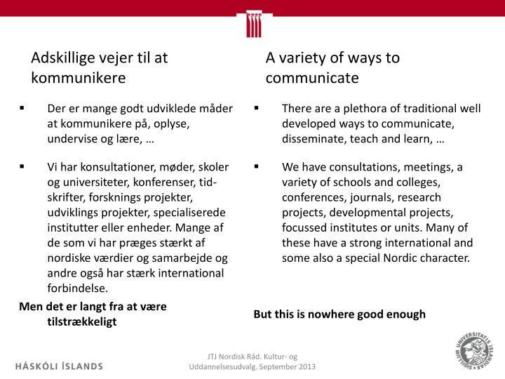 Adskillige vejer til at kommunikere
